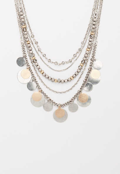 mixed metal layered drape necklace