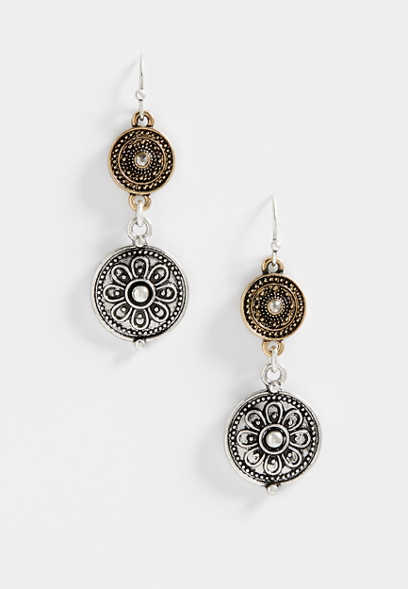 double medallion drop earrings