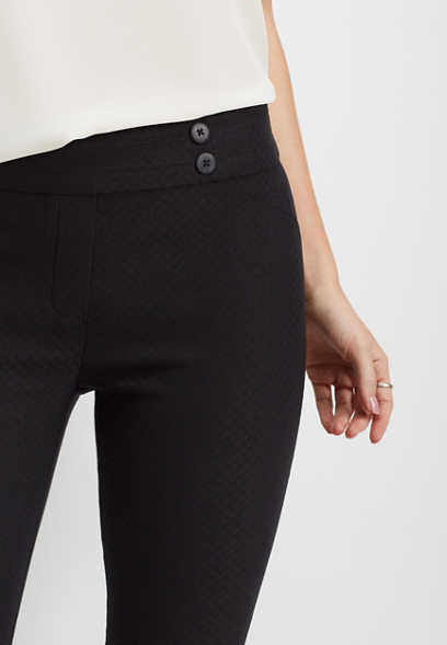 black stretch textured skinny ankle pant