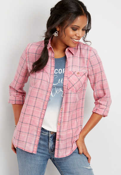 plaid chest pocket button down shirt