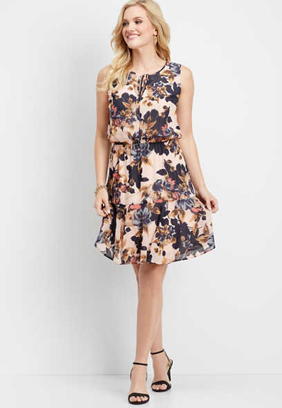 floral tie front ruffled dress