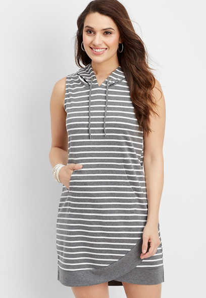 hooded stripe tulip hem dress