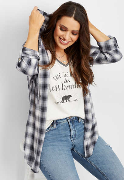 plaid hooded button down tunic