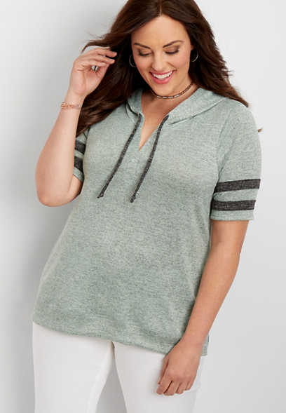 plus size brushed football sweatshirt