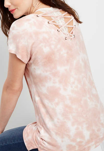 tie dye lace up back pullover