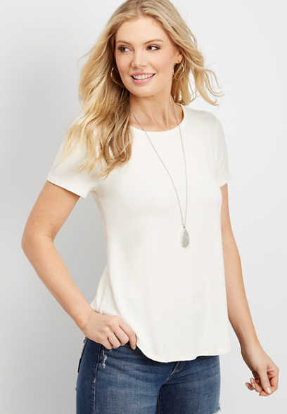24/7 Solid Swing Hem Tee Maurices
