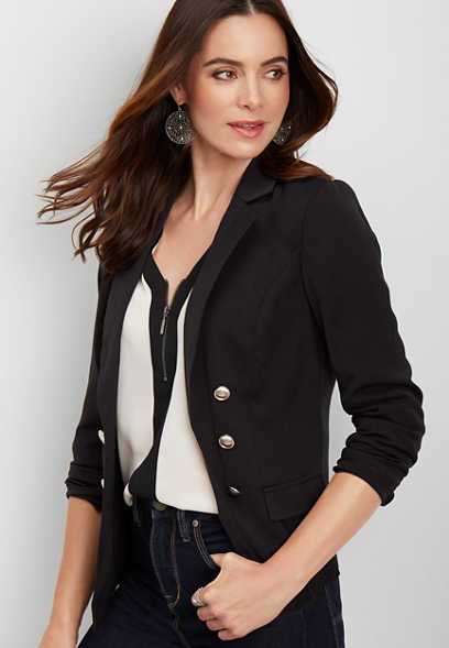 solid military blazer
