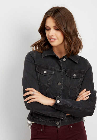 black colored denim jacket