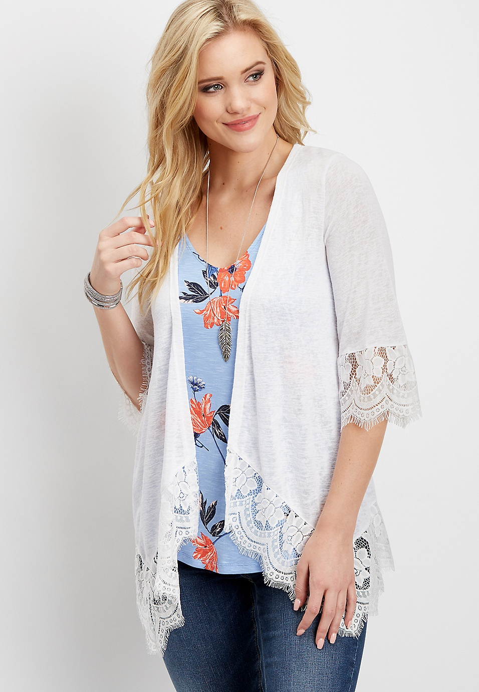 Cheap Get Authentic Lace Hem Cardigan Maurices Buy Cheap New Styles Free Shipping Many Kinds Of Best Wholesale For Sale Outlet Prices qI8umE4CX2