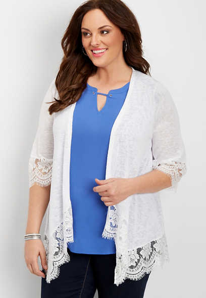plus size lace hem cardigan