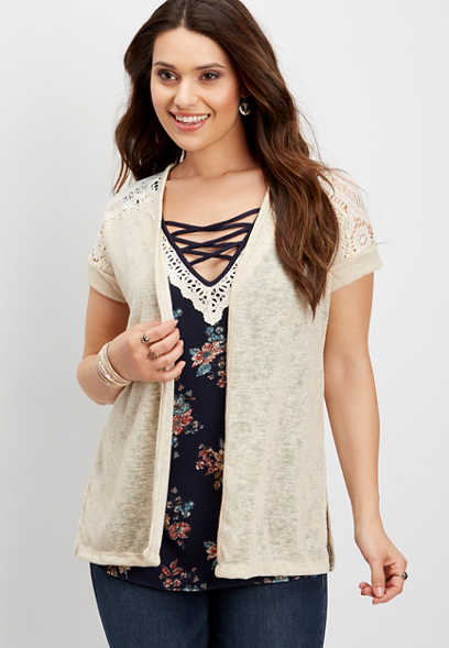 lace yoke cap sleeve cardigan