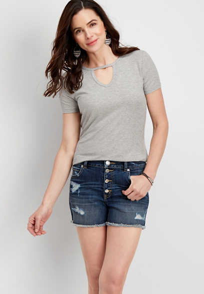 DenimFlex™ high rise destructed button fly short
