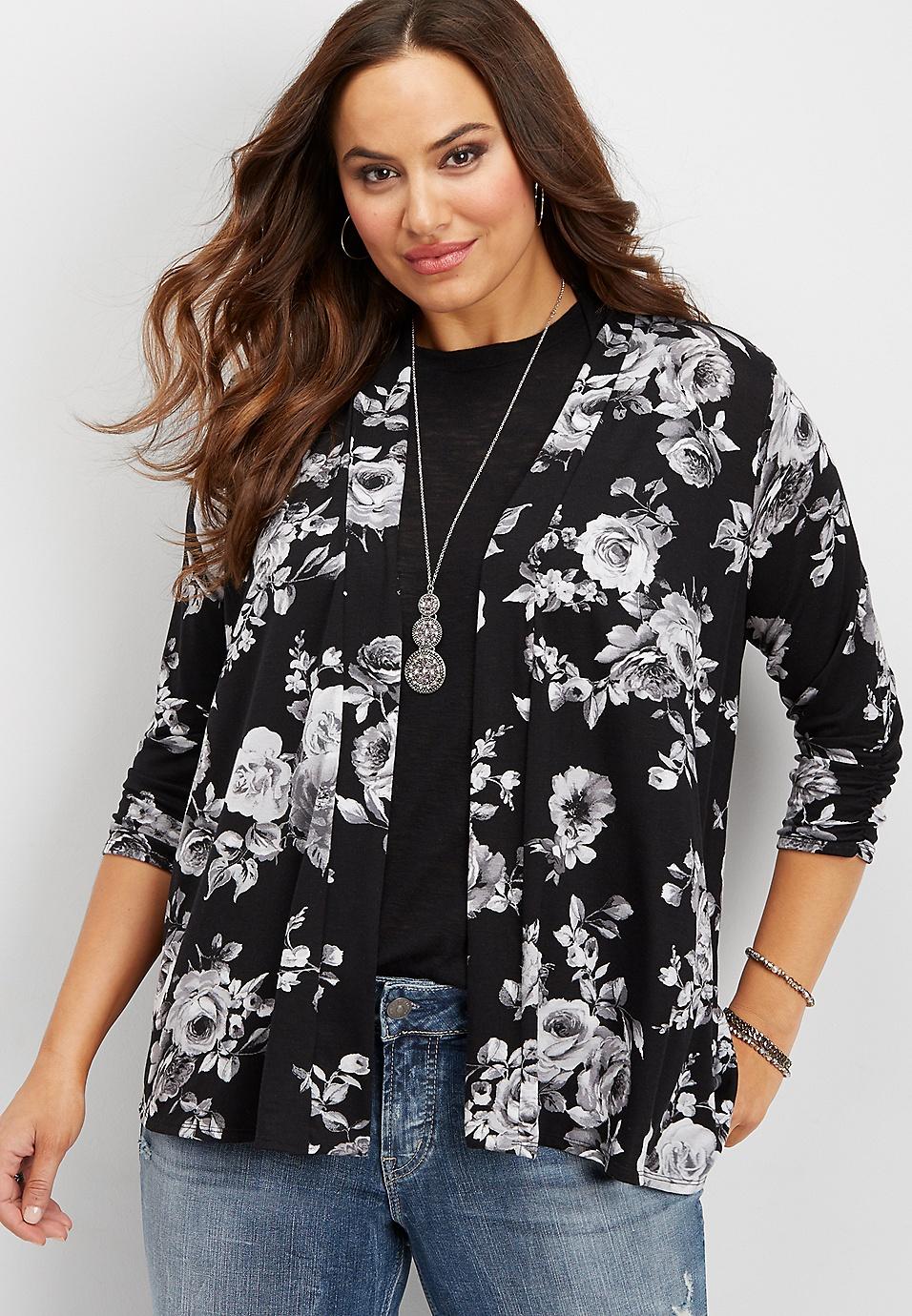 940240279d3 plus size open front floral cardigan