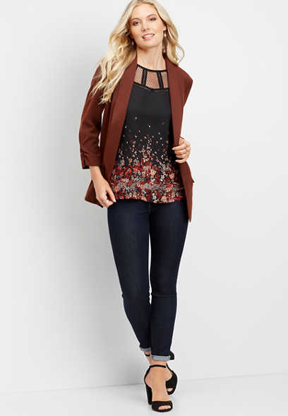 long solid open front blazer