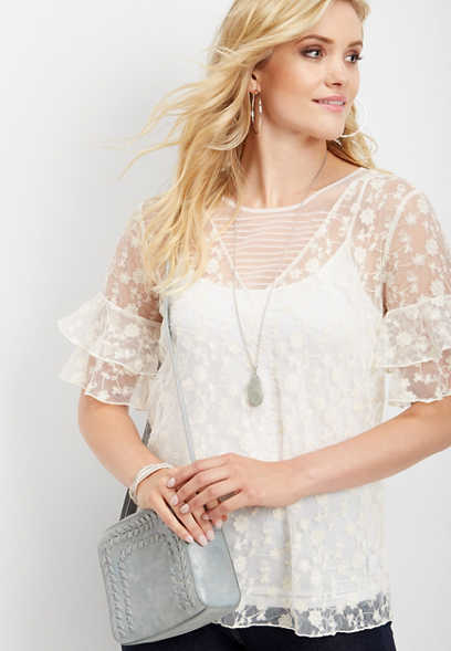 ruffled sleeve floral lace tee