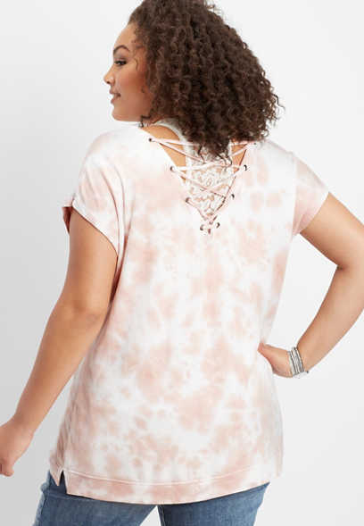 plus size tie dye lace up back tee