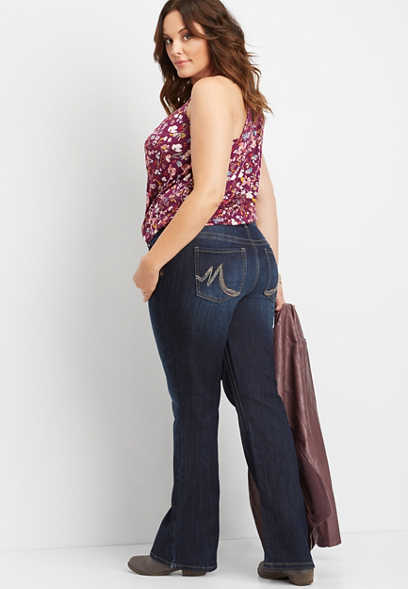 plus size DenimFlex™ dark wash slim boot jean