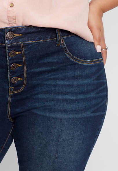 plus size DenimFlex™ high rise button fly jegging