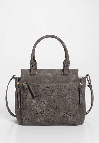 laser cut faux leather satchel