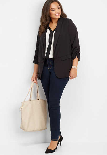 plus size long solid open front blazer