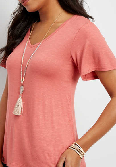 24/7 solid v-neck ruffle sleeve tee
