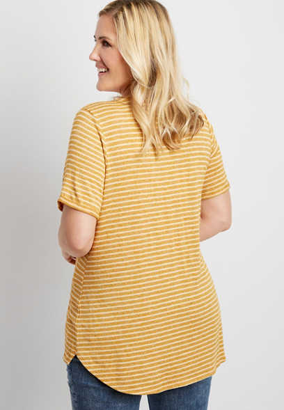 plus size 24/7 stripe v-neck step hem tee