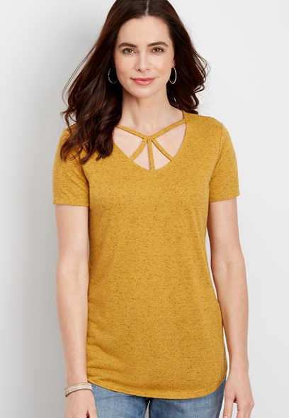 24/7 strappy neck flecked tee