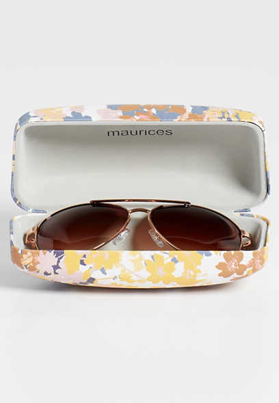 multi floral sunglass case