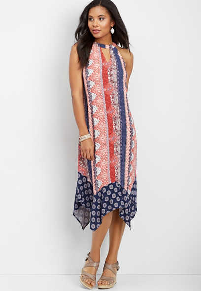 high neck hanky hem dress