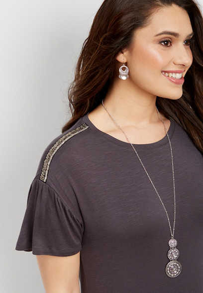 embellished shoulder ruffle tee
