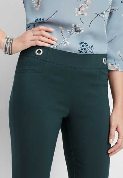 teal stretch pull on grommet skinny ankle pant