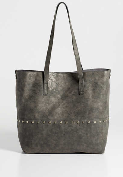 faux leather studded tote
