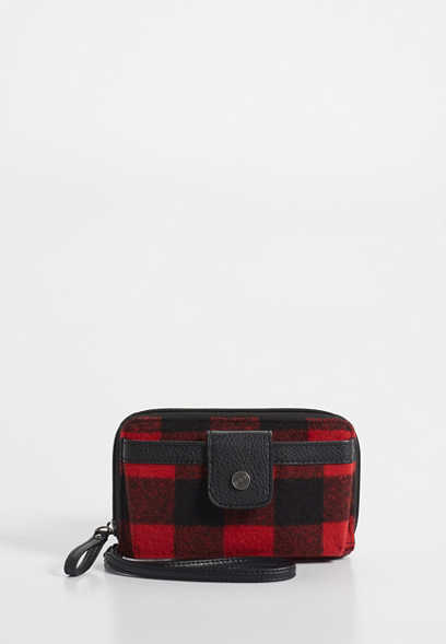 plaid cell phone wristlet