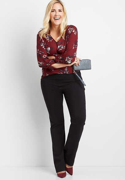 plus size black stretch pull on bootcut pant