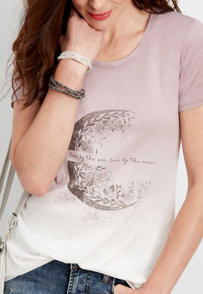 dip dye floral moon graphic tee