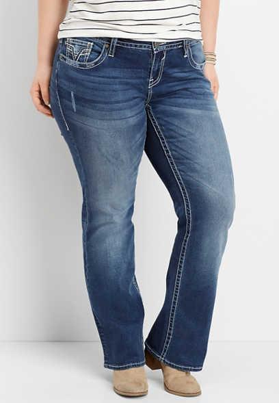 75de78d1c5bbd plus size Vigoss ® dark wash slim boot jean