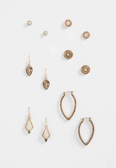 peach stone earring set