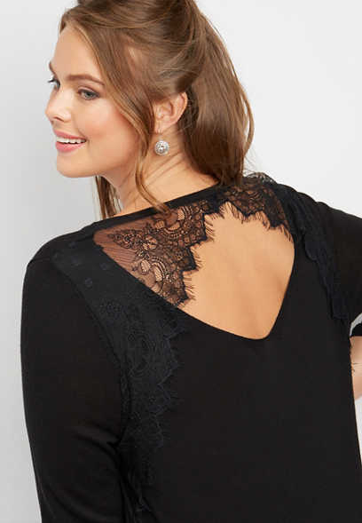 plus size lace back pullover