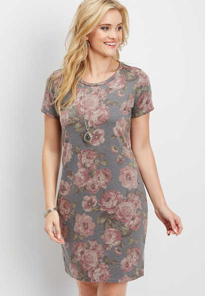 washed floral t-shirt dress