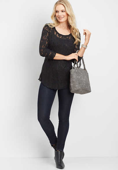 24/7 long sleeve lace tee