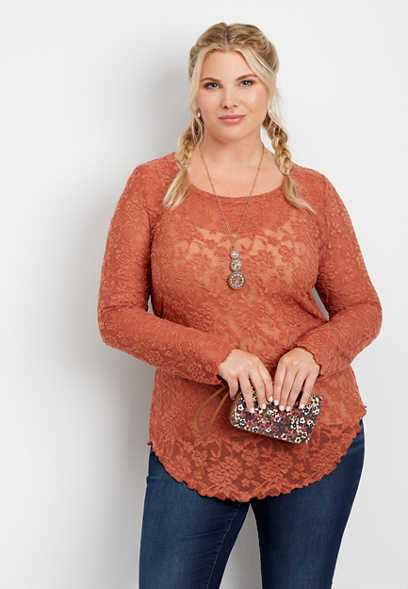 plus size 24/7 long sleeve lace tee
