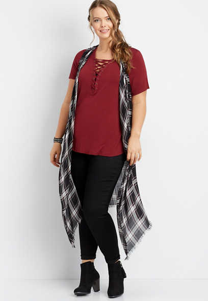 long length plaid vest
