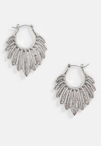 Silver Jeans Co Multi Feather Hoop Earrings Mbeyp