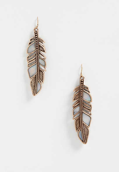 Silver Jeans Co.® russian gold feather earrings