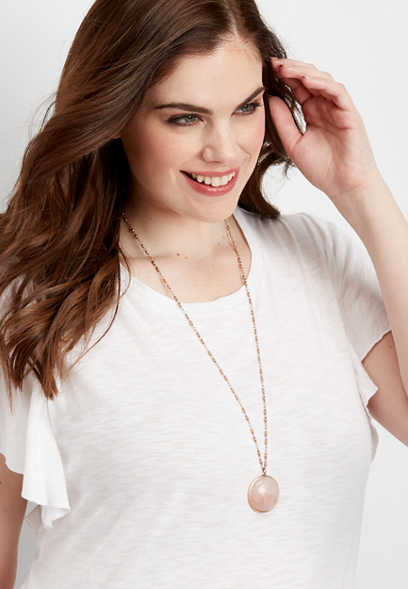 Silver Jeans Co.® pink stone pendant necklace