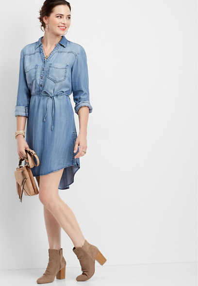 button down v-neck shirtdress