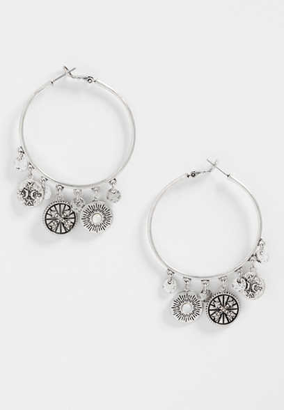 Silver Jeans Co Circle Drop Gypsy Earrings dLH3B