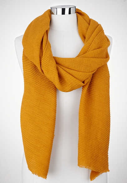 solid pleated oblong scarf