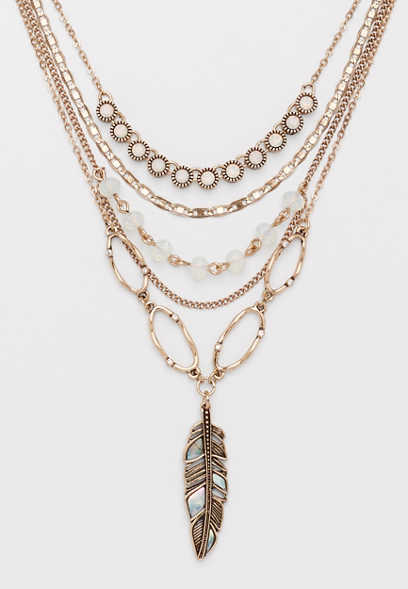 Silver Jeans Co.® layered feather necklace
