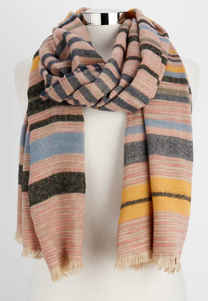 multi striped oblong scarf